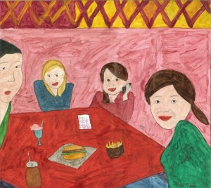 """Hanging with Friends"" by Rupa, age 13 from Stamford, CT USA"