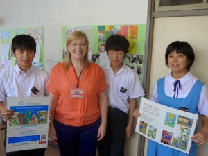 Christi Rose with students from Mihara