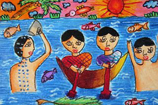 """Playing In The Water in a Boat"" by Saradha, age 11 from Sri Lanka"