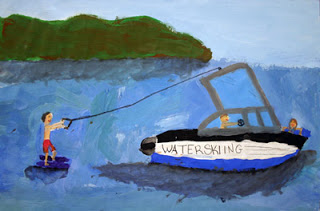 """Water-skiing"" by Sammy, age 10 from CT, USA"