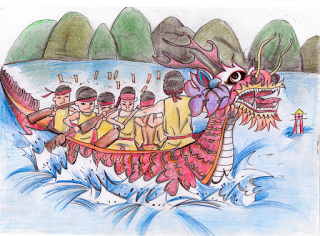 """Dragon Boat Race""  by Qi, age 14 from China"