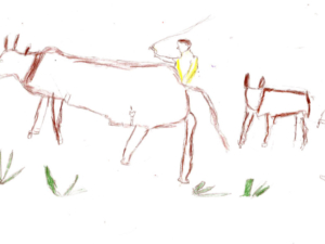 A Farmer Beating His Cattle to Work